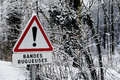 Risk panel warning sign announcing signaling rumble strips on the road for their presence felt through the steering wheel Stock Photography