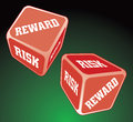 Risk reward dice illustration of two being rolled representing the concept of and Royalty Free Stock Images