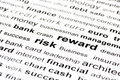 Risk reward keywords Stock Image