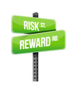 Risk reward road sign illustration design over white Royalty Free Stock Images