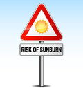 Risk of sunburn vector illustration metal warning sign about Stock Photography