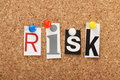 Risk the word in cut out magazine letters pinned to a cork notice board Stock Image