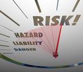 Risk words speedometer measure liability danger hazard level and on a measuring your of and in business or life Stock Photography