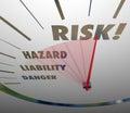 Risk Words Speedometer Measure Liability Danger Hazard Level Royalty Free Stock Photo