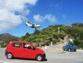 Risky plane landing at St Barts airport Royalty Free Stock Photo