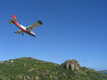 Risky plane landing at St Barts airport Royalty Free Stock Photo