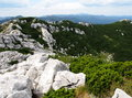 Risnjak national park panoramic view with mountain hut in croatia Stock Photos