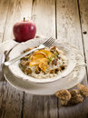 Risotto with apple and mushroom Royalty Free Stock Photography