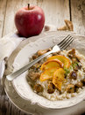 Risotto with apple and mushroom Stock Photography