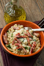 Risotto with  mushrooms and bacon Royalty Free Stock Photos