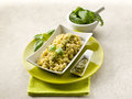 Risotto with pesto sauce Royalty Free Stock Images