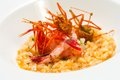 Risotto seafood rice with prawns. Royalty Free Stock Photography