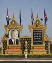 Ritratto commemorativo del re Sihanouk in Phnom Phen Fotografia Stock