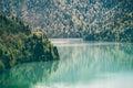 Ritsa Lake and Coniferous Forest Landscape Royalty Free Stock Photo