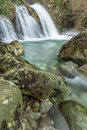 Ritsons force mountain flowing waterfall stunning a quite hidden away in a plantation at wasdale head in the english lake district Stock Photos