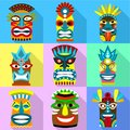 Ritual african mask icon set, flat style