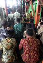 Ritual milled sugar factory employees pray while following the in karanganyar central java indonesia Royalty Free Stock Images