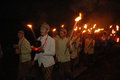 Ritual torch people in the mountains followed by a description of the village in karanganyar central java indonesia Royalty Free Stock Photography