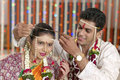 Rituals in indian hindu wedding brother performing maharashtra with bride and groom Royalty Free Stock Photos