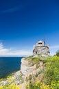 Riuned building of old pakri lighthouse at breakage estonia Royalty Free Stock Photo