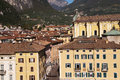 Riva del garda this town is at the top of the lovely lake in italy Royalty Free Stock Photo