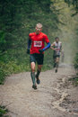 Rivalry two athletes runners zlatoust russia august during mountain marathon race for the clouds zlatoust russia august Royalty Free Stock Photos