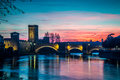 The river Adige that crosses Verona at Sunset Royalty Free Stock Photo