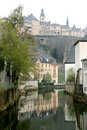 River of Alzette and town wall in Luxembourg City Stock Image