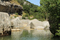 River in ardeche france a quiet under the sun of summer Royalty Free Stock Images