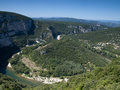 River of the ardeche gorge in france a bend famous Royalty Free Stock Photography