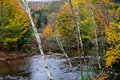 River in autumn a and colorful fall foliage during the white mountains of new hampshire Royalty Free Stock Images