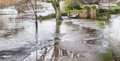 River avon major flood uk christchurch in dorset uk Royalty Free Stock Image