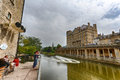 River avon weir bath england a view of the in the historic city of a very popular tourist attraction Stock Images