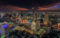 River in bangkok city night time with bird view Stock Photography