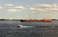 River barge,white motorboat,river Volga,Russia Royalty Free Stock Photo