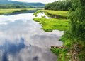 River bay the of the vltava in the czech sumava mountains Royalty Free Stock Photo