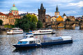 River boat cruise to Charel`s bridge and Vltava Royalty Free Stock Photo
