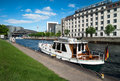 River boat on spree in berlin by friedrichstrasse station Royalty Free Stock Photos