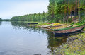 River and boats wooden rowing Royalty Free Stock Photography