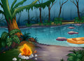 A river and a camp fire illustration of in scary jungle Stock Images