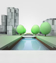 River canal in town with office buildings cityscape development illustration Royalty Free Stock Photo