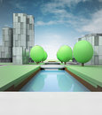 River canal in town with office buildings cityscape development illustration Stock Image