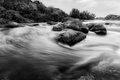 River cascades black and white image of Royalty Free Stock Image
