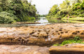 River and cleft stone at li phi waterfall in dry season sakon nakhon province thailand Royalty Free Stock Photo