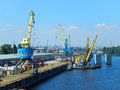 River cranes parking on the dnieper Royalty Free Stock Photography
