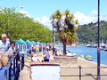 River dart dartmouth devon ferry and cruise ticket kiosks on the side of the at Stock Photo