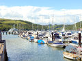 River dart dartmouth devon a marina and a warship on the at england uk Stock Photography