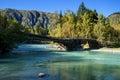 River in east kazakhstan altai mountains wooden bridge on belaya berel Royalty Free Stock Photo