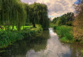 River through english countryside in hertfordshire u k Royalty Free Stock Photos