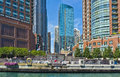 River Esplanade, Chicago River, Illinois Stock Photography